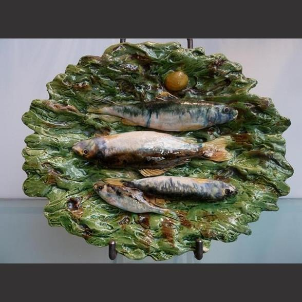 A Palissy ware fish plate. French 1890