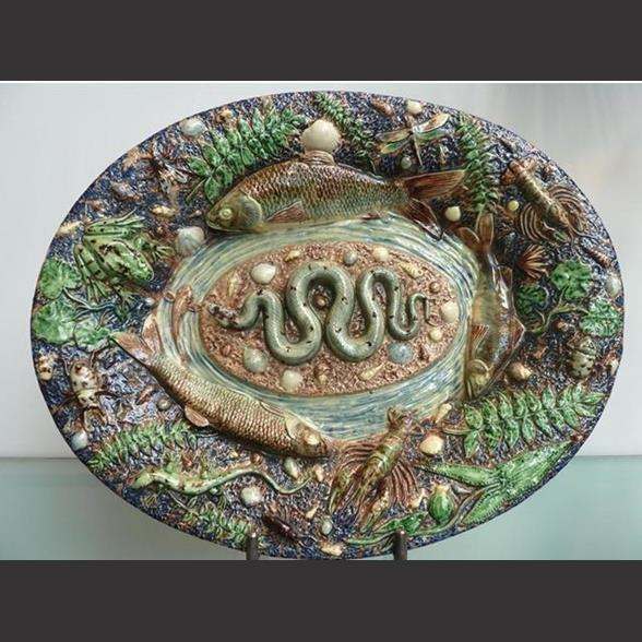 A Palissy ware snake plate