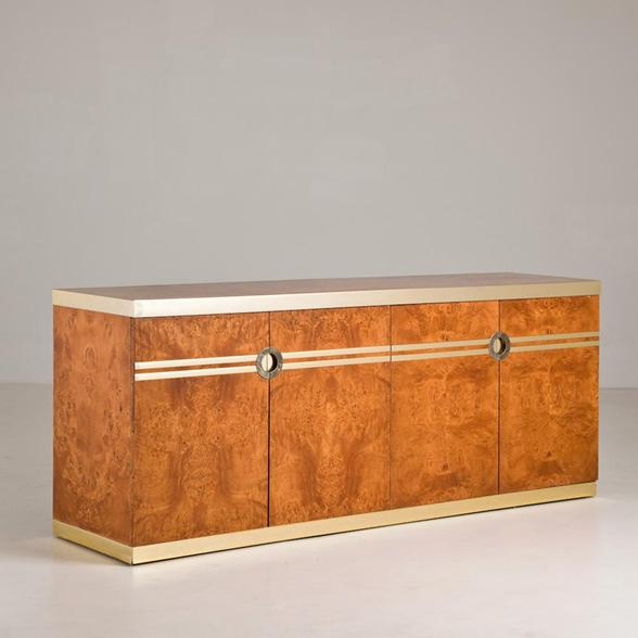 A Pierre Cardin Designed Burr Veneered Four Door Cabinet 1980s