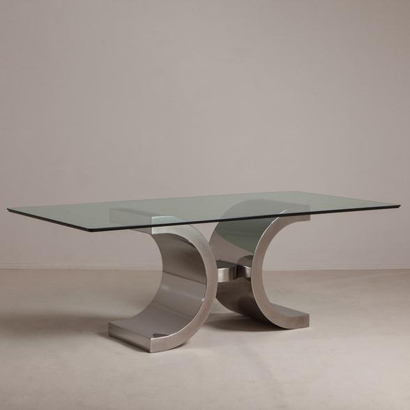 A Polished and Brushed Steel Based Table 1980s