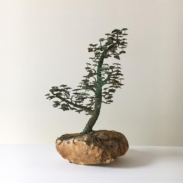 A Rare Bronze of a Bonsai Tree in Full Leaf 1960s