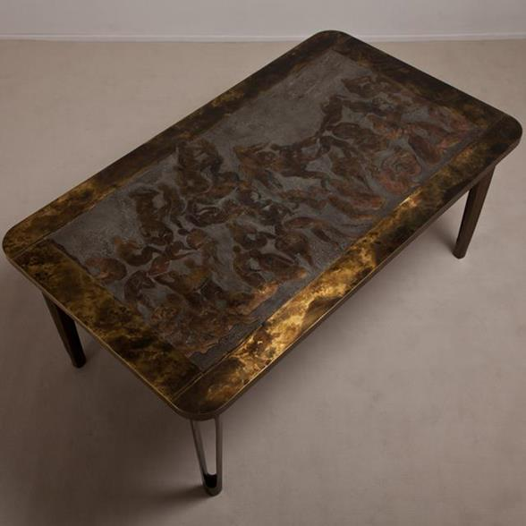 A Rare LaVerne Designed Bronze and Pewter Centre Table