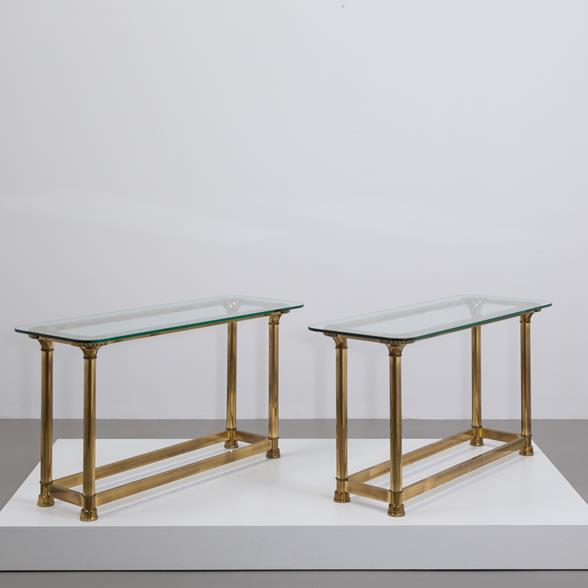 A Rare Pair of Brass Console Tables by Mastercraft 1970s
