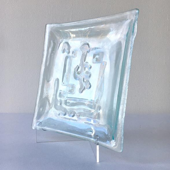 A Rare Wells Studio Clear Fused Glass Plate by Higgins 1950s