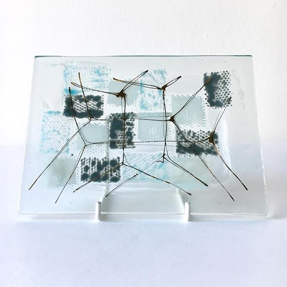 A Rectangular Patchwork Fused Glass Plate by Higgins