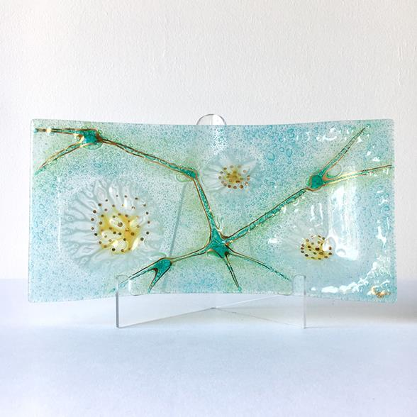 A Rectangular Thistledown Fused Art Glass Plate by Higgins