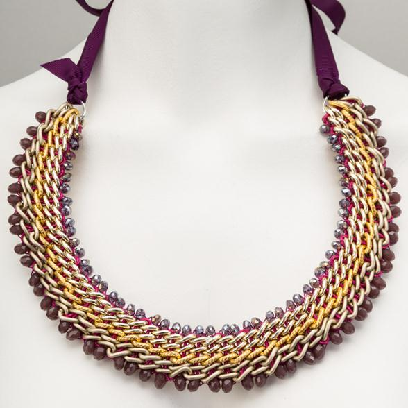 A Ribbon Tie and Gemstone Necklace by Amrita India