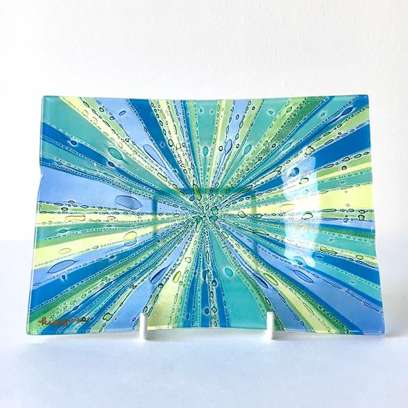 A Riviera Higgins Rectangular Fused Glass Ashtray