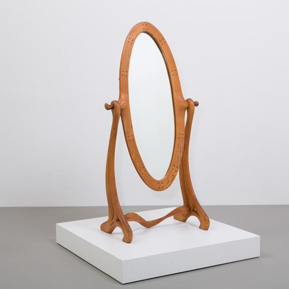 A Sculptural Maple Wood Framed Cheval Mirror USA 1950s