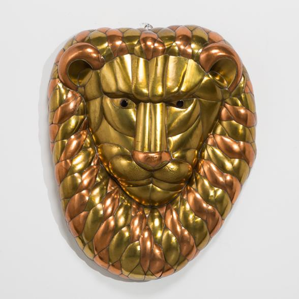 A Sergio Bustamante Brass and Copper Lion Mask 1960s