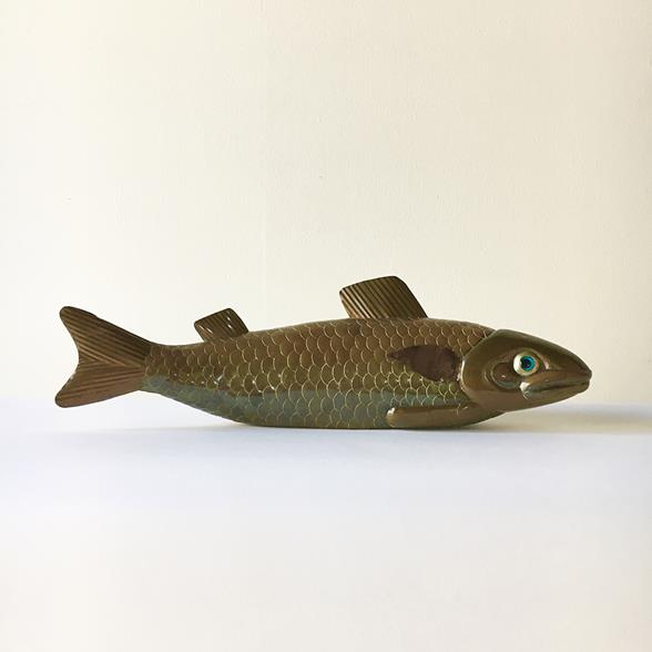 A Sergio Bustamante Koi Carp Brass and Copper Sculpture 1970s