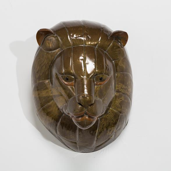 A Sergio Bustamante Patinated Brass Lion Mask 1960s