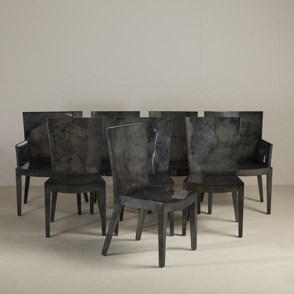 A Set of Eight Grey Lacquered Goatskin Chairs 1980s