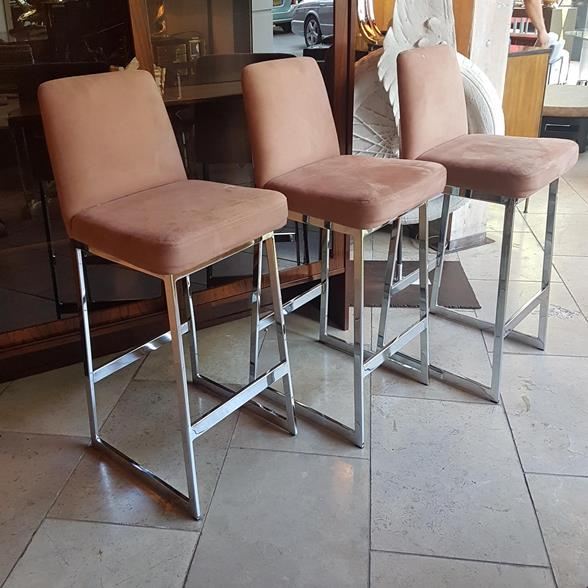 A Set of Five Chrome Framed Bar Stools by Preview 1980s