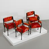 A Set of Four Paul Evans Sculpted Bronze Armchairs late 1960s Alternate image