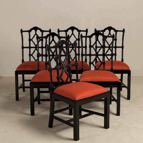 A Set of Six Gloss Ebonised Framed Asian Modern Dining Chairs 1960s