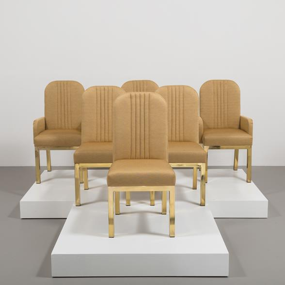 A Set of Six Mastercraft Upholstered Dining Chairs 1970s
