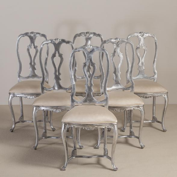 A Set of Six Rococo Style Polished Aluminium Chairs 1960s