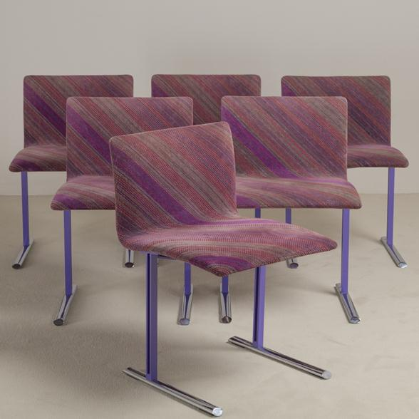 A Set of Six Saporiti designed Dining Chairs 1980s