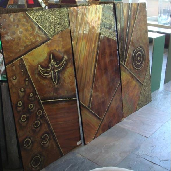 A Set of Three Metal Wrapped Wall Panels 1970s