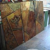 A Set of Three Metal Wrapped Wall Panels 1970s  main image