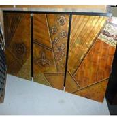 A Set of Three Metal Wrapped Wall Panels 1970s  Alternate image
