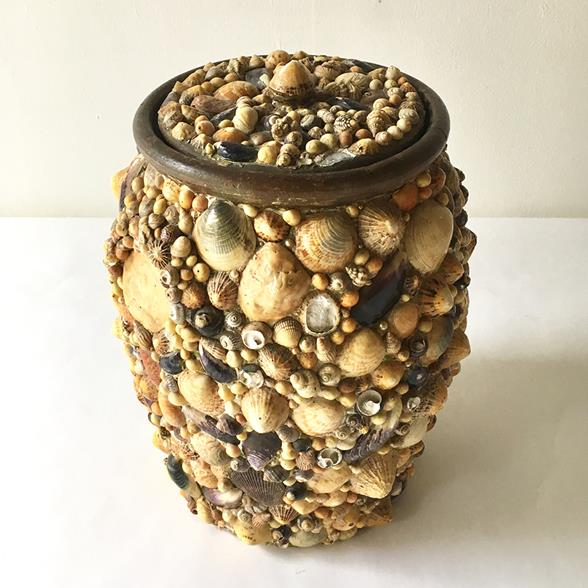 A Shell Encrusted Lidded Pot