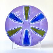 A Siamese Purple Circular Fused Glass Higgins Plate  main image