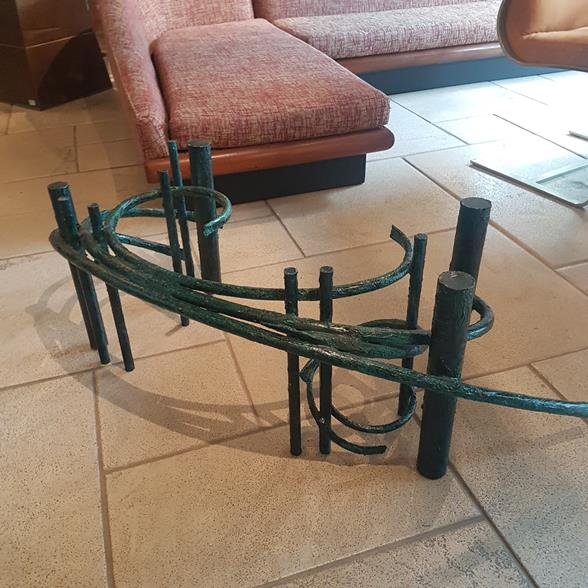 A Silas Seandel Attributed Green Patinated Coffee Table