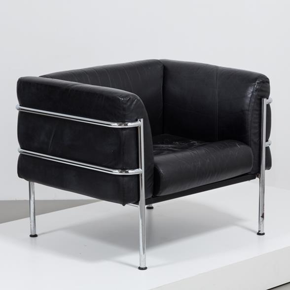A Single Black Buffalo Leather Chair with Chromed Tubular Frame