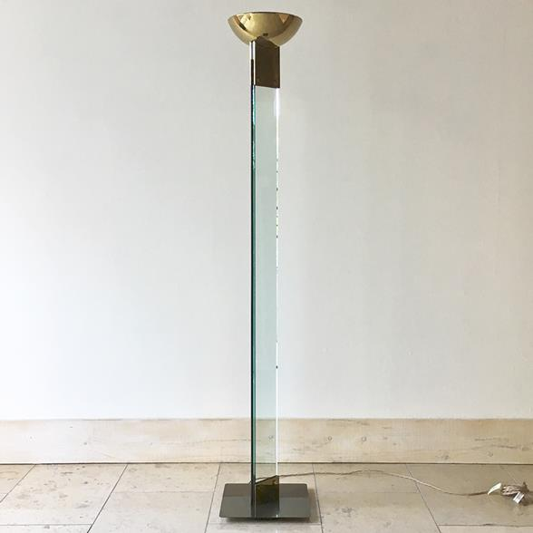 A Single Glass and Brass Floor Standing Uplighter 1980s