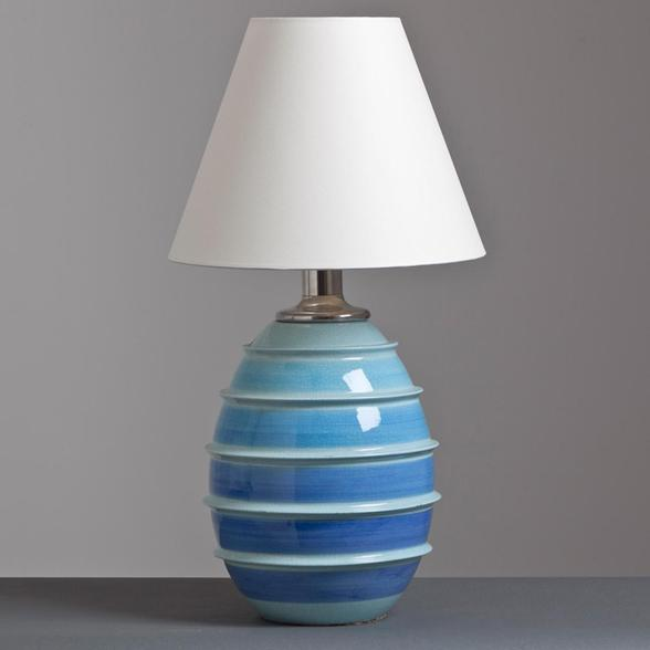 A Single Italian Blue and Turquoise Striped Ceramic Lamp 1960s
