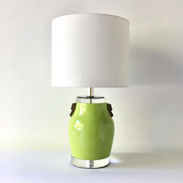 A Single Lime Green Glazed Ceramic Table Lamp 1980s