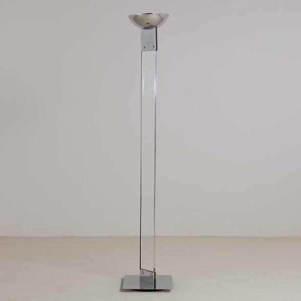 A Single Lucite and Chrome Floor Standing Uplighter 1980s