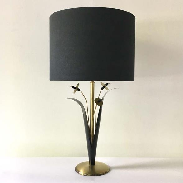A Single Patinated Metal Sculptural Reed Table Lamp 1970s