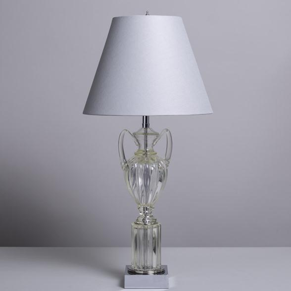 A Single Tall Moulded Glass Urn Shaped Table Lamp 1960s