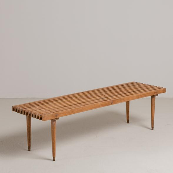 A Slatted Wooden Bench with Tapered Legs USA 1950s