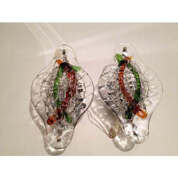 A Small Pair of Vintage Glass Wall Lights