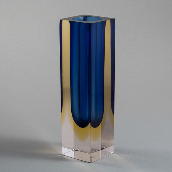 A Small Rectangular Murano Sommerso Glass Vase 1960s