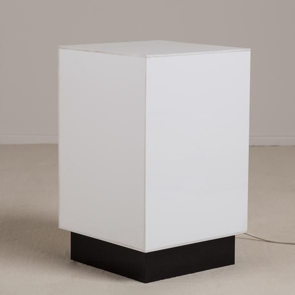 A Small Single White Acrylic Light Box Sidetable 1970s