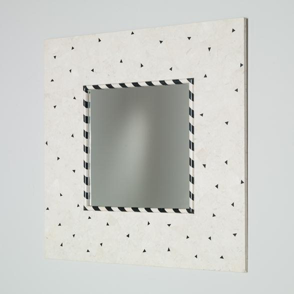 A Square Black and White Stone Veneered Mirror by Oggetti