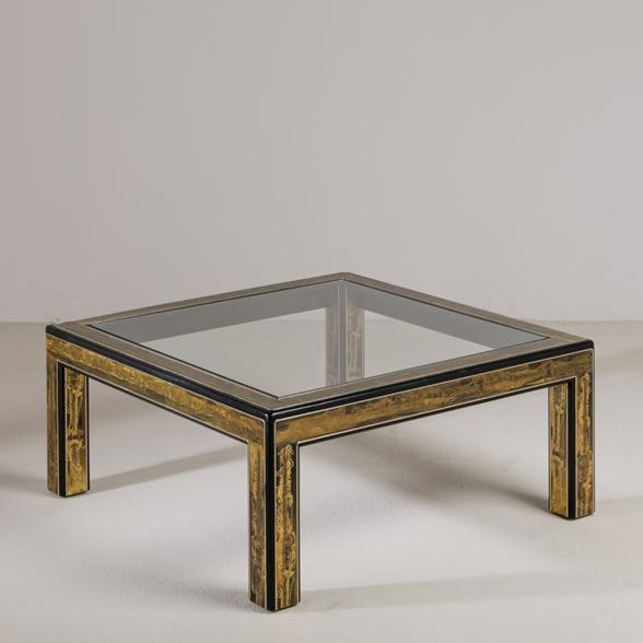 A Square Mastercraft Acid Etched Brass and Ebonised Coffee Table
