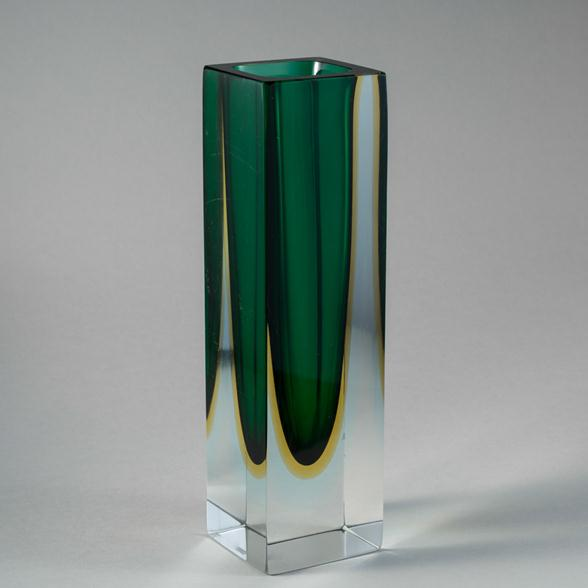 A Square Murano Sommerso Glass Vase 1960s