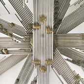 A Steel Rod and Brass Lightning Starburst Wall Sculpture 1970s Alternate image