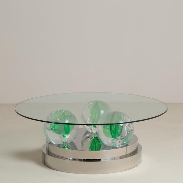 A Steel Wrapped and Lucite Sphered Coffee Table 1980s