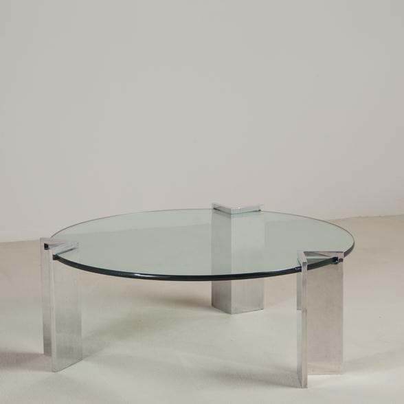 A Steel and Glass Leon Rosen for Pace Coffee Table 1970s