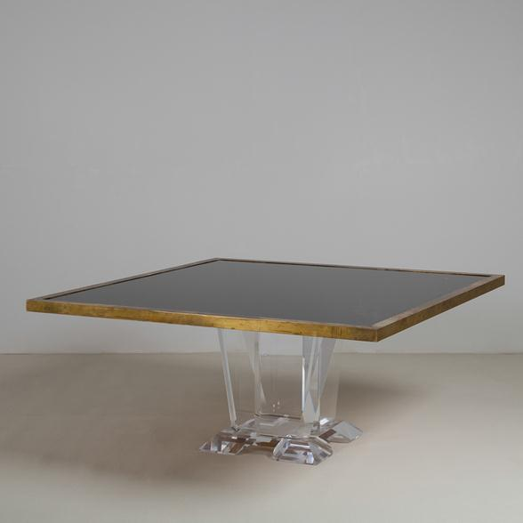 A Superb Crackle Glass Dining Table for Karl Springer 1980s