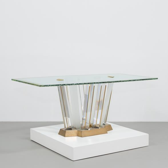 A Superb Lucite and Bronze Dining Table with Unique Glass Top