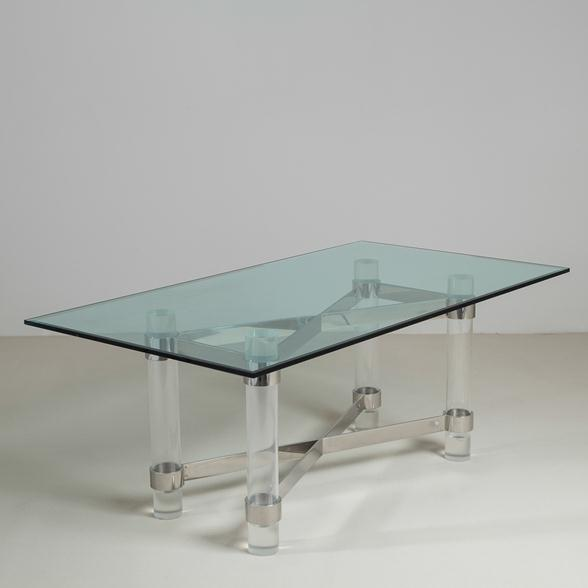 A Superb Lucite and Chromium Steel Based Dining Table 1970s