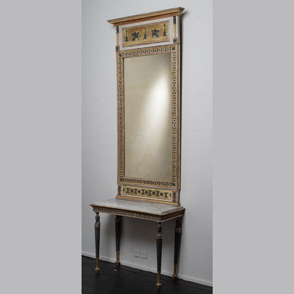 A Swedish Empire Console Table and Mirror with Original Mirror Plate